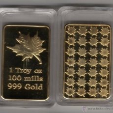 Monedas antiguas de América: CANADA LINGOTE CON ORO 24 KTES, HOJA DE ARCE LIQUIDACION. Lote 127007552