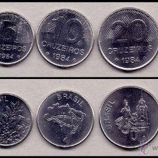 Monedas antiguas de América: BRASIL SERIE 5 MONEDAS DE 1 5 10 20 50 CRUZEIROS 1984 KM 590 591 592 593 594 SC UNC. Lote 46003897
