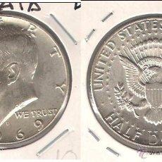 Monedas antiguas de América: MONEDA DE MEDIO (1/2) DÓLAR (KENNEDY) DE ESTADOS UNIDOS DE 1969-D. PLATA. MBC+ (ME1308).. Lote 46327544