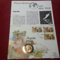 Monedas antiguas de América: MONEDA CON SOBRE Y SELLO NUMISBRIEF MUNZ -BRIEFE AUS ALLER WELT ISLA ANGUILA MONEDA 2 NEW PENCE 1981. Lote 84149054