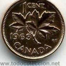 Monedas antiguas de América: CANADA 1 CENTIMO DE 1963 ( HOJAS DE ARCE ) Nº1. Lote 47584143