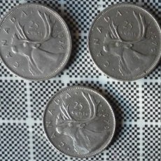 Monedas antiguas de América: LOTE DE TRES MONEDAS DE CANADA DE 25 CENTS. AÑOS DIFERENTES. Lote 47590034