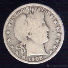 Monedas antiguas de América: HALF-DOLLAR. 1908. ESTADOS UNIDOS DE AMERICA. PLATA. Lote 48153701