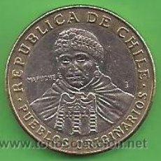 Monedas antiguas de América: MONEDA - CHILE - 100 PESOS - 2012 - ESCUDO DE ARMAS Y PUEBLOS ORIGINARIOS - CIRCULADA.. Lote 50203330