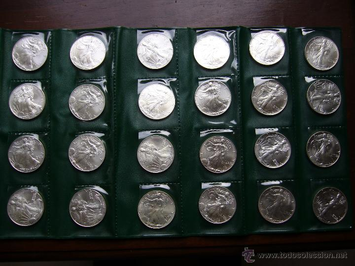 LOTE DE 24 MONEDAS DE PLATA 1 DOLAR 1986 A 2009 USA SILVER EAGLE DOLLAR (Numismática - Extranjeras - América)