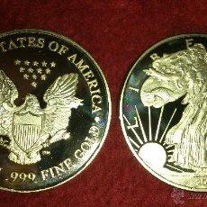 Monedas antiguas de América: MONEDA LIBERTY 1 OZ BAÑO DE ORO Y PLACA PULIDA AÑO 2000.. Lote 135276154