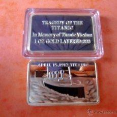 Monedas antiguas de América: MONEDA DE 1 OZ DEL TITANIC DE BAÑO DE ORO PLATEADO Y PLACA PULIDA.. Lote 135275821