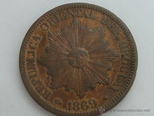 ESCASA MONEDA REPUBLICA DE URUGUAY 4 CENTESIMOS 1869 A MBC (Numismática - Extranjeras - América)
