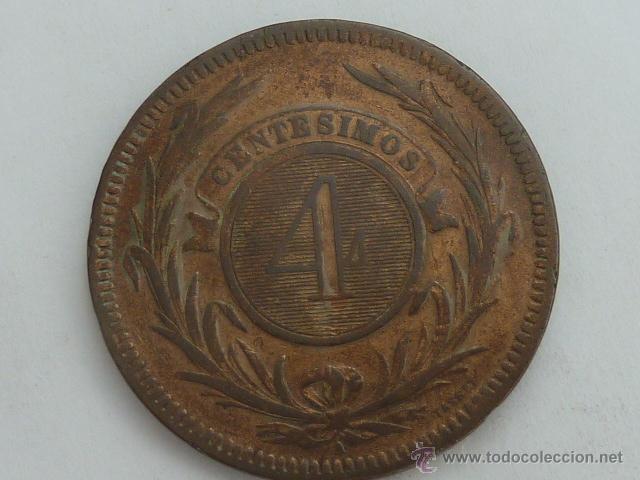 Monedas antiguas de América: Escasa moneda REPUBLICA DE URUGUAY 4 CENTESIMOS 1869 A MBC - Foto 2 - 52598929