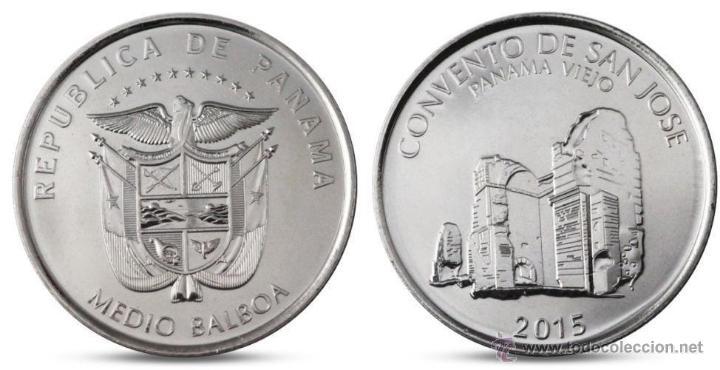 PANAMA 1/2 MEDIO BALBOA 2015 CONJUNTO MONUMENTAL DE PANAMA VIEJO ( CONVENTO DE SAN JOSE ) (Numismática - Extranjeras - América)