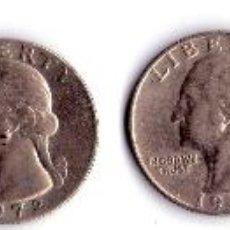 Monedas antiguas de América: MONEDAS DE CUARTO DE DOLAR USA AÑOS 1965,1966,1967,1972,1974 Y 1776-1976. Lote 53970345