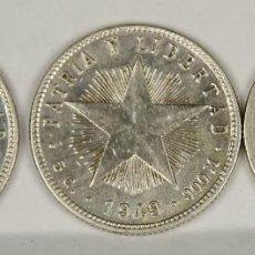 Monedas antiguas de América: MO-039. COLECCION DE TRES MONEDAS DE PLATA. REPUBLICA DE CUBA. 20 CENTAVOS. 1948/1949.. Lote 50386321