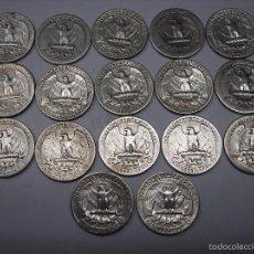 Monedas antiguas de América: 17 MONEDAS DE PLATA DE 1/4 DE DOLAR.USA. Lote 56044790