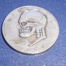 Monedas antiguas de América: RARISIMA MONEDA DOLAR USA HOBO NICKEL EISENHOWER 1974 RARO MODIFICADO CALAVERA FIRMADA DC CRANEO. Lote 56280877