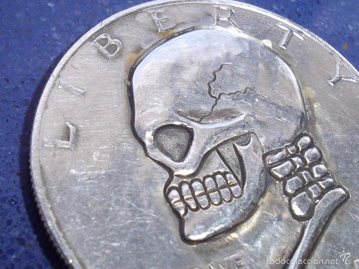 Monedas antiguas de América: Rarisima moneda dolar USA HOBO NICKEL Eisenhower 1974 raro modificado calavera firmada DC craneo - Foto 2 - 56280877