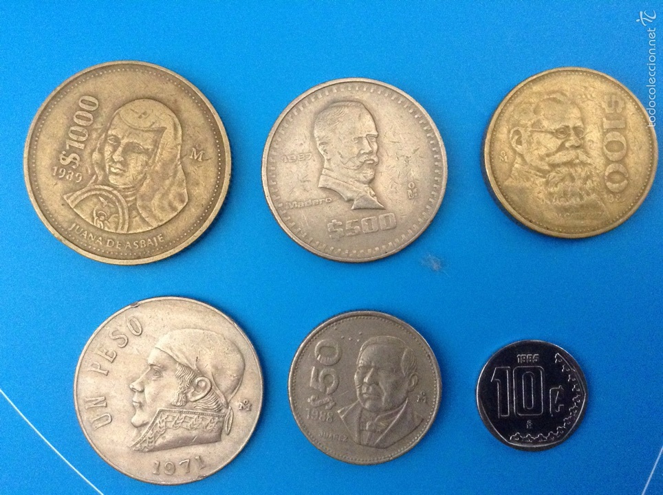 méxico juego 6 monedas diferentes años 70-80 - Comprar