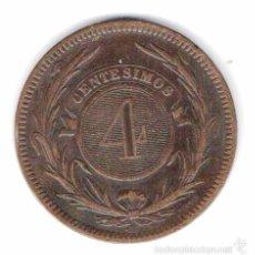 Monedas antiguas de América: MONEDA 4 CENTESIMOS 1869 REPUBLICA ORIENTAL DEL URUGUAY MODULO 35 MM BRONCE. Lote 56877359