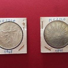 Monedas antiguas de América: 2 MONEDAS MEXICANAS DE PLATA DE 1890 Y 1968. Lote 57109445