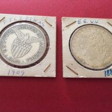 Monedas antiguas de América: 2 DÓLARES DE PLATA DE ESTADOS UNIDOS (EEUU 1887 Y FILIPINAS 1909). Lote 57109585