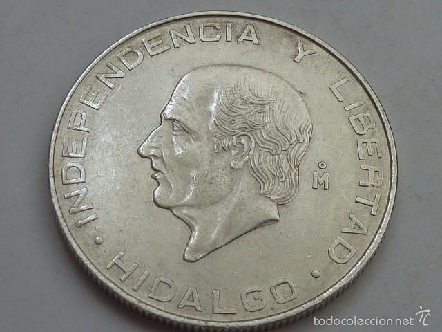 MONEDA DE PLATA DE 5 PESOS DE MEXICO DE 1956, HIDALGO, EBC (Numismática - Extranjeras - América)