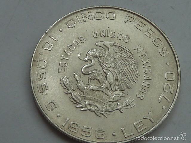 Monedas antiguas de América: Moneda de plata de 5 pesos de Mexico de 1956, Hidalgo, EBC - Foto 2 - 57116310