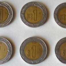 Monedas antiguas de América: SEIS MONEDAS DE 1 PESO DE MEXICO. AÑOS CORRELATIVOS. Lote 58375331