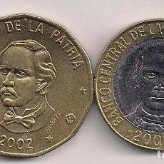 Monedas antiguas de América: REPÚBLICA DOMINICANA - 2 MONEDAS DE 1 Y 5 PESOS 2002. Lote 65973330
