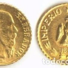 Monedas antiguas de América: [CF3040] MÉXICO 1865, MINIMONEDA ORO MAXIMILIANO EMPERADOR (UNC). Lote 74747921