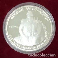 Monedas antiguas de América: BONITA MONEDA DE PLATA MEDIO DOLAR DEL 250 ANIVERSARIO DE GEORGE WASHINGTON 1982 CON CERTIFICADO. Lote 102665172