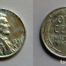 Monedas antiguas de América: ESTADOS UNIDOS 1 CENT 1943 LINCOLN, ZINC-COBRE. Lote 49531655