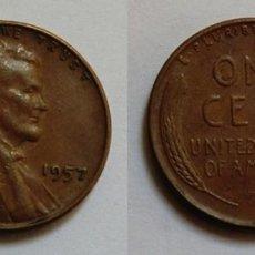 Monedas antiguas de América: 1 CENT 1957 ESTADOS UNIDOS, ERROR ACUÑACION LIBERTY. Lote 49531900