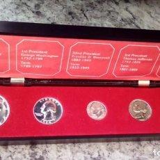 Monedas antiguas de América: INTERESANTE ESTUCHE DE MONEDAS PLATA 1964 DE PRESIDENTES DE LOS ESTADOS UNIDOS DE AMERICA. Lote 70539717