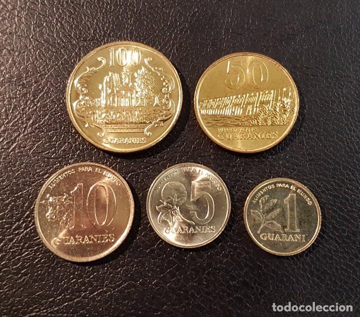 PARAGUAY SET 5 COINS 1 5 10 50 100 GUARANIES 1990-1996 UNC