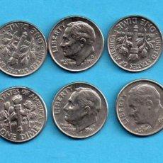 Monedas antiguas de América: DIEZ MONEDAS DIFERENTES AÑOS USA ONE DIME 1991 P/ ESTADOS UNIDOS 1 DIME 2016. Lote 74310235