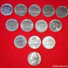 Monedas antiguas de América: CURIOSO, PRACTICO Y ECONOMICO LOTE DE ARRAS DE BODA - 13 MONEDAS DE 5 CENTIMOS DE DOLAR - ORIGINALES. Lote 75140615
