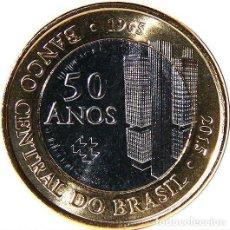 Monete antiche di America: BRASIL 1 REAL 2015 50 AÑOS DEL BANCO CENTRAL DE BRASIL. Lote 174225527
