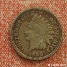 Monedas antiguas de América: ESTADOS UNIDOS ONE CENT 1863. Lote 76177923