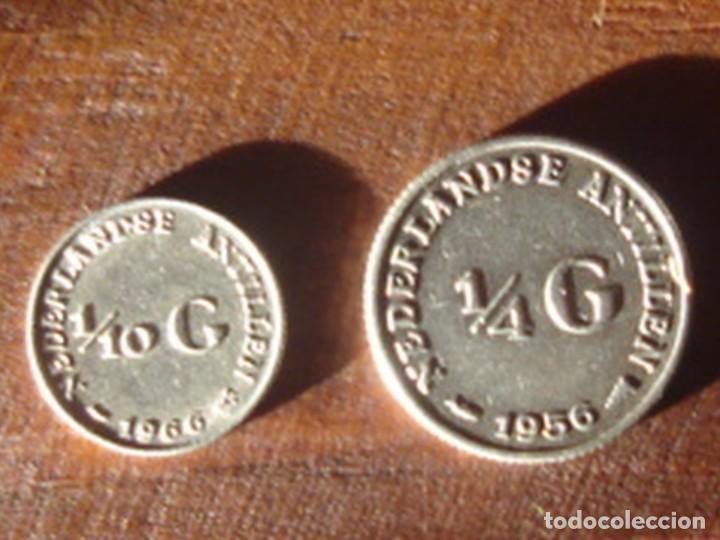 ANTILLAS HOLANDESAS. REINA JULIANA. 1/4 DE FLORÍN (GULDEN) 1956 Y 1/10 DE FLORÍN 1966. PLATA. EBC (Numismática - Extranjeras - América)