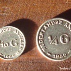 Monedas antiguas de América: ANTILLAS HOLANDESAS. REINA JULIANA. 1/4 DE FLORÍN (GULDEN) 1956 Y 1/10 DE FLORÍN 1966. PLATA. EBC. Lote 76608959