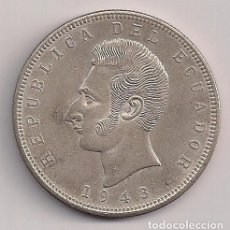 Monedas antiguas de América: ECUADOR - 5 SUCRES 1943 PLATA - KM#79. Lote 77110657