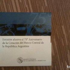 Monedas antiguas de América: EMISION 75 ANIVERSARIO BANCO CENTRAL REPUBLICA ARGENTINA - BLISTER CERRADO - 2010. Lote 77667693