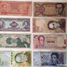 Monedas antiguas de América: 8 BILLETES DE BOLÍVARES VENEZOLANOS DE DIFERENTES VALORES. Lote 80118037