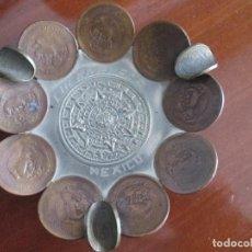 Monedas antiguas de América: CENICERO CUERNAVACA MEXICO REALIZADO CON MONEDAS DE 10 CENTAVOS AÑOS 40 Y 50. Lote 84618424