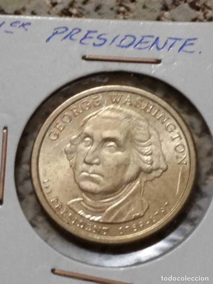 Monedas antiguas de América: Lote de 4 monedas EE.UU., 1º,2º,3º presidente y cuarto de dolar conmemorativo. - Foto 2 - 86344736
