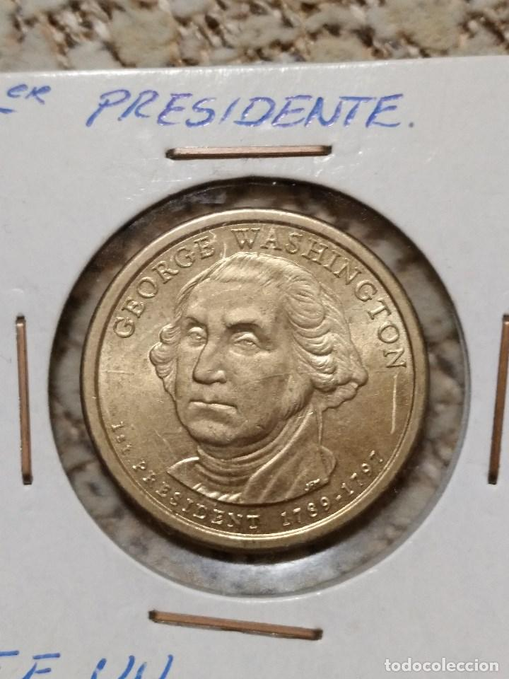 Monedas antiguas de América: Lote de 4 monedas EE.UU., 1º,2º,3º presidente y cuarto de dolar conmemorativo. - Foto 3 - 86344736