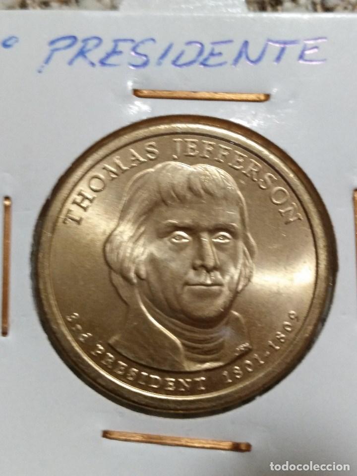 Monedas antiguas de América: Lote de 4 monedas EE.UU., 1º,2º,3º presidente y cuarto de dolar conmemorativo. - Foto 4 - 86344736
