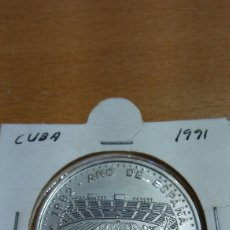 Monedas antiguas de América: MONEDA DE CUBA UN PESO AÑO 1991 AÑO DE ESPAÑA ESTADIO OLÍMPICO DE BARCELONA. Lote 87058763