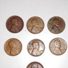 Monedas antiguas de América: LOTE DE 7 MONEDAS DE ONE CENT AÑOS 1934-42D-45-47-49S-51-57S. Lote 89728872