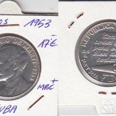 Monedas antiguas de América: TF3010 MONEDA CUBA 50 CENTAVOS PLATA 1953 MBC+. Lote 93335680