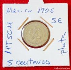 Monedas antiguas de América: MONEDA DE MEXICO - 5 CENTAVOS DE PLATA DEL AÑO 1906. Lote 93764395